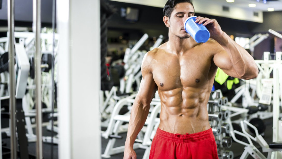 man drinking shake gym supplements promo 0